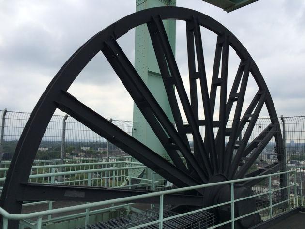 Zum Abschluss des Besuchs im Bochumer Bergbaumuseum ging's noch auf den Förderturm hinauf.