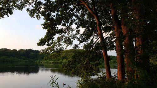 Blick ueber einen See vom Campingplatz Spitzenort aus