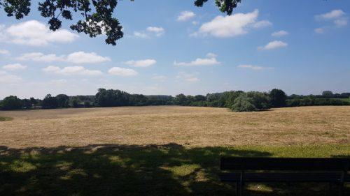 Bild: wunderschoener Blick über ein gemaehtes Feld