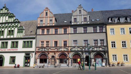 Bild: Häuserreihe in Weimar mit Fachwerk
