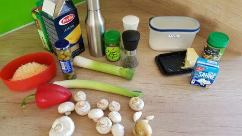 Bild Die Zutaten für die Gemüselasagne auf einen Blick.