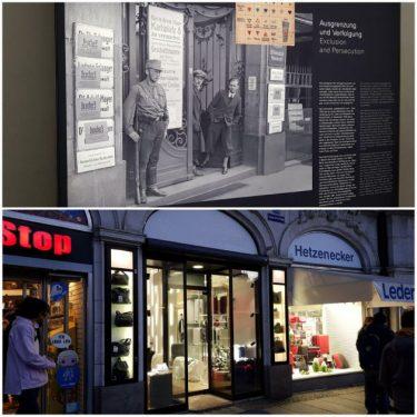 Bild Früher – heute: Das Bild aus dem Museum zeigt den Karlsplatz 8 früher und ich habe das Gebäude heute besucht.