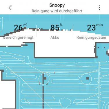 So sieht es in der App des Saugroboters aus, wenn er unsere Wohnung reinigt.