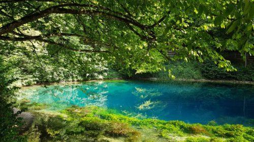 Bild von einem blauen Teich, dem Blautopf