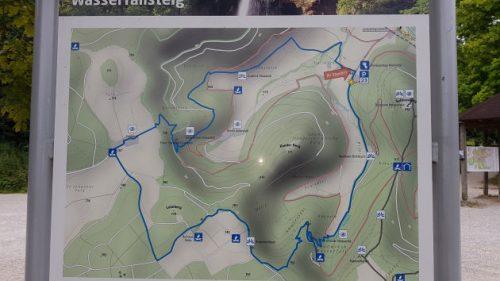 Diese Karte zeigt die Wanderung auf dem Wasserfallsteig
