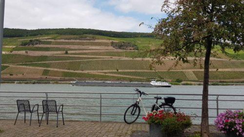 Rheinpromenade in Bingen im Rhein mit Blick in die Weinberge und auf mein Pedelec